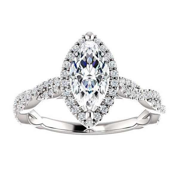 Sparkling Infinity Halo Marquise Engagement Ring Setting (10x5mm) - Moijey Fine Jewelry and Diamonds