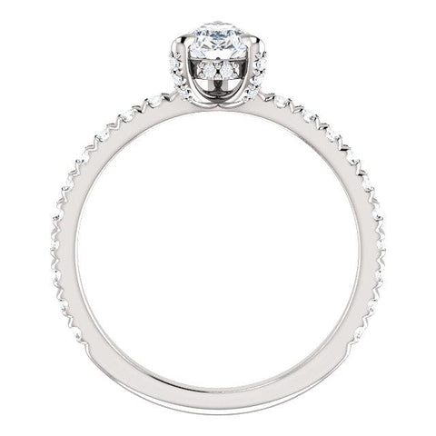 Entouré Pear Engagement Ring Setting (8x5mm) - Moijey Fine Jewelry and Diamonds