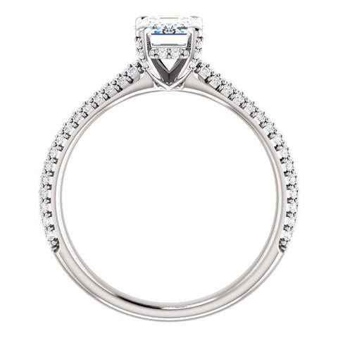 Pave Accented Emerald-Cut Engagement Ring Setting - Moijey Fine Jewelry and Diamonds