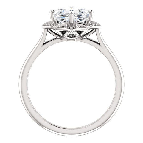 14K White 6x6mm Asscher Ring Mounting - Moijey Fine Jewelry and Diamonds