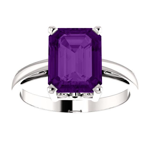 Emerald-Cut Amethyst Scroll Solitaire Ring