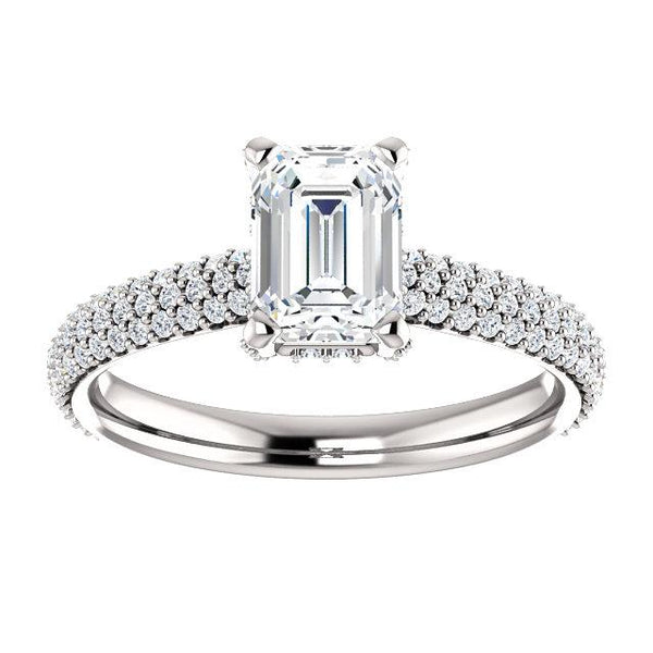 Pave Accented Emerald-Cut Engagement Ring Setting