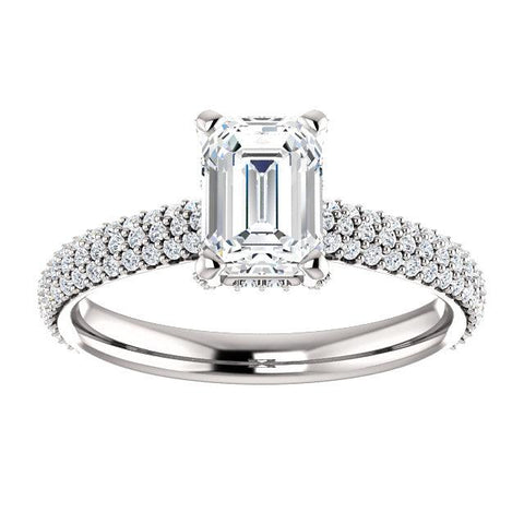 Emerald Cut Engagement Ring Setting | Pave Accented Engagement Ring | Designer Diamond Ring
