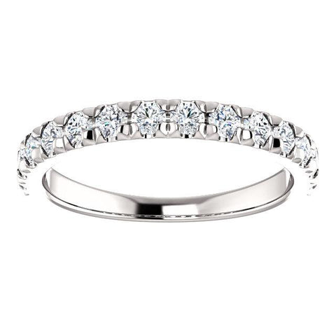 French Set Diamond Anniversary Band | Polished Round Diamond French Set | Anniversary Band