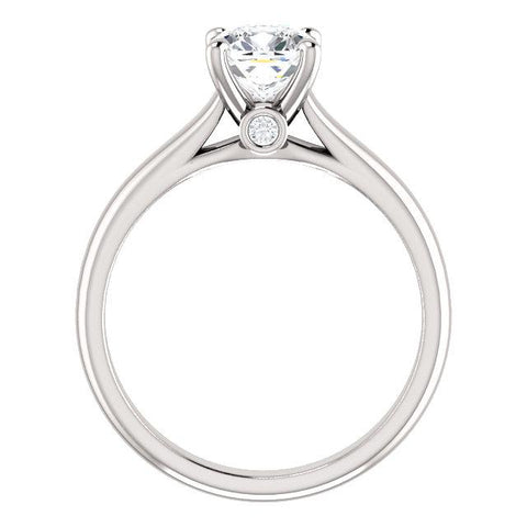 14K White 6x6 mm Cushion .04 CTW Diamond Semi-set Engagement Ring - Moijey Fine Jewelry and Diamonds