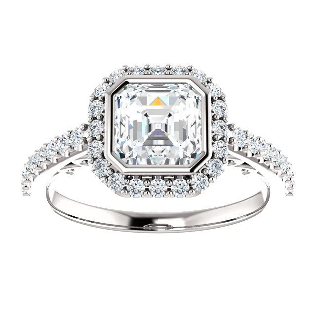 14K White 6x6mm Asscher Engagement Ring Mounting