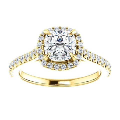 Whit Diamond Engagement Ring | Cushion Engagement Ring Mounting | Diamond Ring