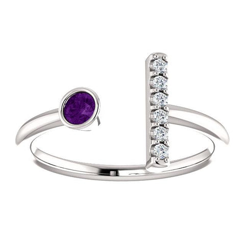 Bezel-Set Amethyst & .05 CTW Diamond Bar Ring - Moijey Fine Jewelry and Diamonds