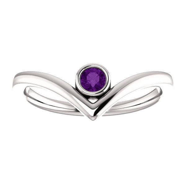 "Amethyst Solitaire Bezel-Set ""V"" Ring"
