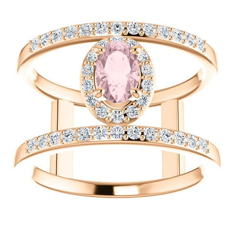 White Diamond Pink Morganite Ring | Rose Gold Open Space Morganite Ring | Diamond Ring