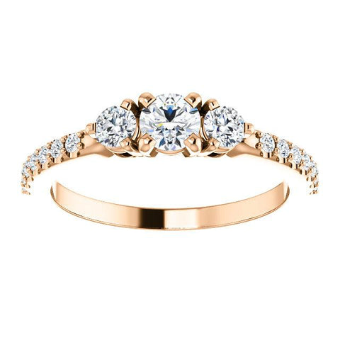 4K Rose 4.1mm Round 1/3 CTW Diamond 3-Stone Engagement Ring - Moijey Fine Jewelry and Diamonds