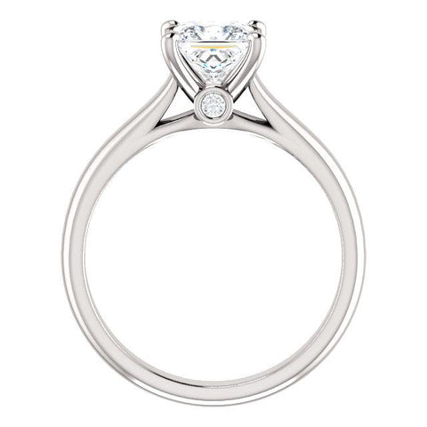 14K White 5.5x5.5 mm Square .04 CTW Diamond Semi-set Engagement Ring - Moijey Fine Jewelry and Diamonds