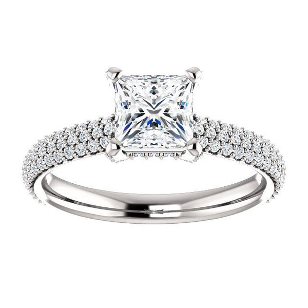 Pave Accented Princess Cut Engagement Ring Setting - Moijey Fine Jewelry and Diamonds