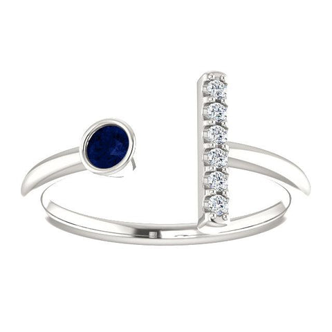 Bezel-Set Blue Sapphire & .05 CTW Diamond Bar Ring - Moijey Fine Jewelry and Diamonds