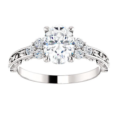 Oval Shaped Semi Set Engagement Ring | Oval White Diamond Engagement Ring | Diamond Ring
