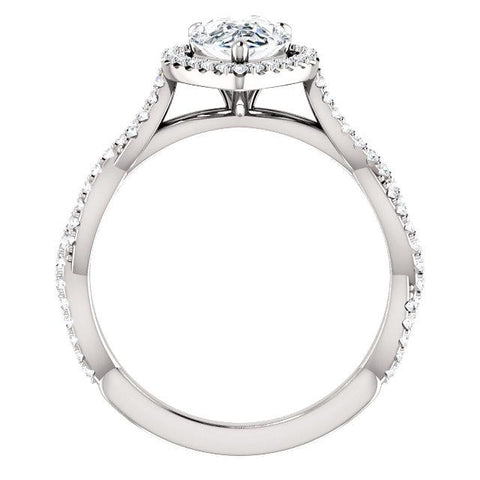 Pear Shaped Engagement Ring | Engagement Ring Mounting | Halo Diamond Ring