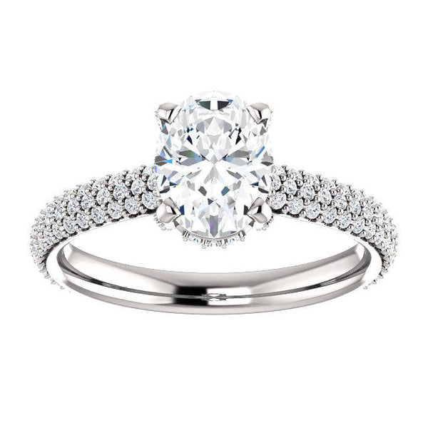 Pave Accented Oval Engagement Ring Setting - Moijey Fine Jewelry and Diamonds