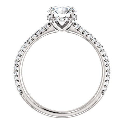 Pave Accented Round Engagement Ring Setting - Moijey Fine Jewelry and Diamonds