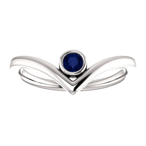 "Blue Sapphire Solitaire Bezel-Set ""V"" Ring - Moijey Fine Jewelry and Diamonds"