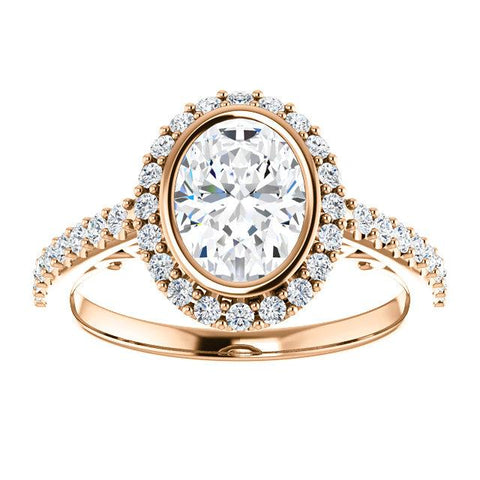 Oval Bezel Engagement Ring | White Oval Engagement Ring Mounting | Diamond Ring