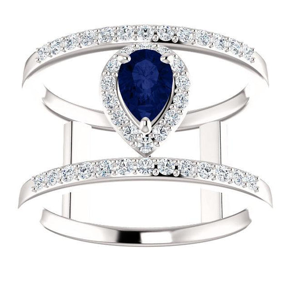 Blue Sapphire & 1/3 CTW Diamond Open Space Halo Ring