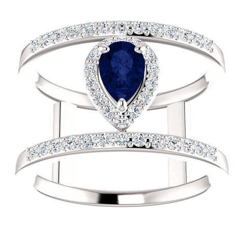 Blue Sapphire & 1/3 CTW Diamond Open Space Halo Ring - Moijey Fine Jewelry and Diamonds