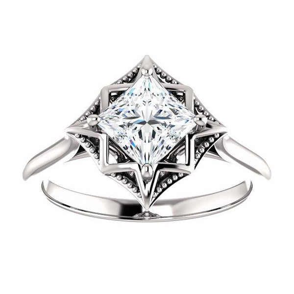 princess solitaire engagement ring | fancy solitaire engagement ring setting | fancy princess solitaire engagement ring