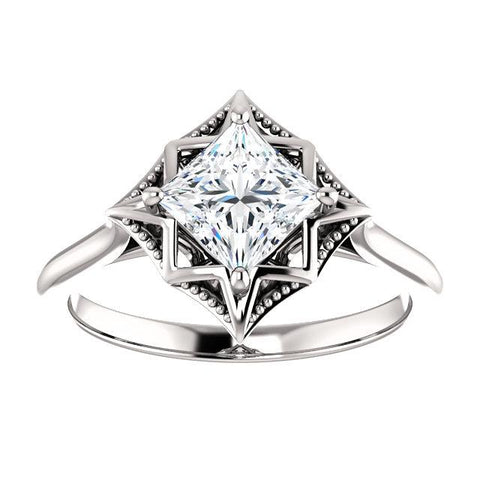 Fancy Princess Solitaire Engagement Ring Setting (5.5mm) - Moijey Fine Jewelry and Diamonds