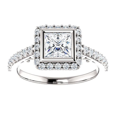 14K White 5x5mm Square Engagement Ring Mounting - Moijey Fine Jewelry and Diamonds