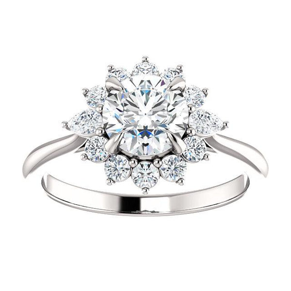 Diamond Flower Engagement Ring Setting - Moijey Fine Jewelry and Diamonds