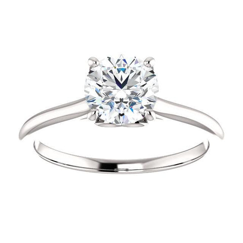 14K White 6.5 mm Round Solitaire Engagement Ring Mounting - Moijey Fine Jewelry and Diamonds