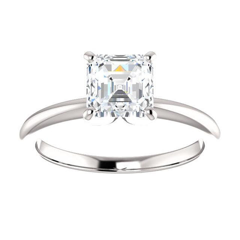 14K White 6x6mm Asscher Solitaire Engagement Ring Mounting - Moijey Fine Jewelry and Diamonds
