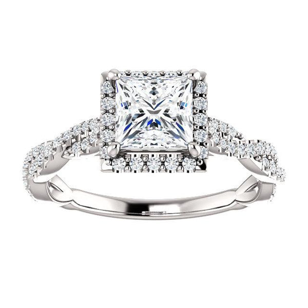 14K White 5.5mm Square Engagement Ring Mounting - Moijey Fine Jewelry and Diamonds