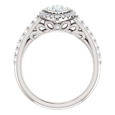 Marquise Bezel-Set Filigree Halo Engagement Ring - Moijey Fine Jewelry and Diamonds