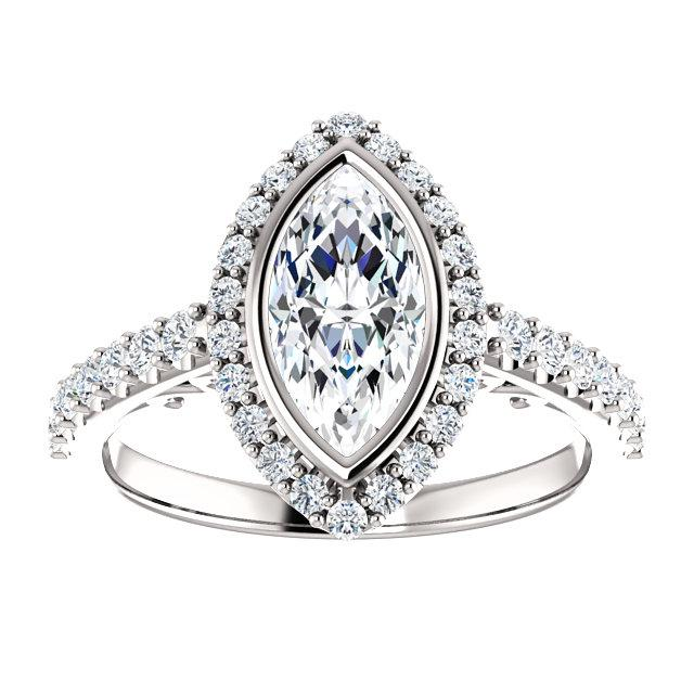 Marquise Bezel-Set Filigree Halo Engagement Ring