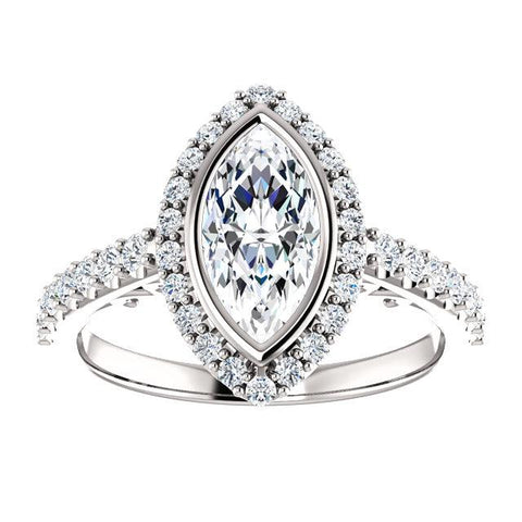 14K White 10x5mm Marquise Engagement Ring Mounting - Moijey Fine Jewelry and Diamonds