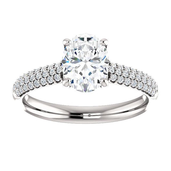 Airy Oval Pave Engagement Ring Setting - Moijey Fine Jewelry and Diamonds
