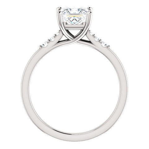 14K White 5.5x5.5mm Square .06 CWT Diamond Semi-Set Engagement Ring - Moijey Fine Jewelry and Diamonds