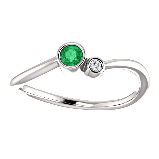 Bezel-Set Emerald & .02 CTW Diamond Two-Stone Ring