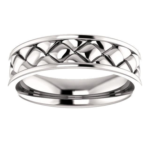 Mens Platinum Wedding Band | Woven Design Band for Men | Wedding Band
