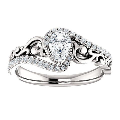 Pear-Shaped Organic Filigree Engagement Ring Setting - Moijey Fine Jewelry and Diamonds
