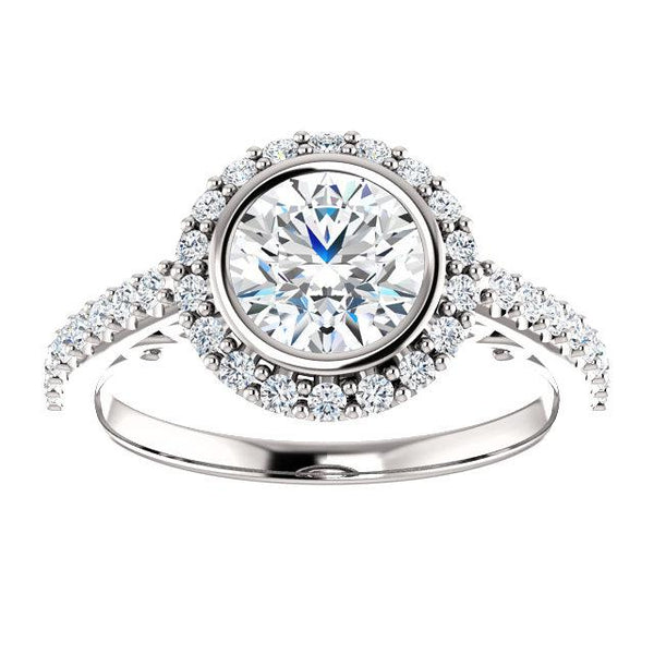 14K White 6.5mm Round Engagement Ring Mounting