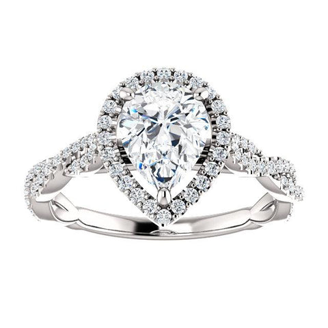 Pear-Shaped Infinite Halo Engagement Ring