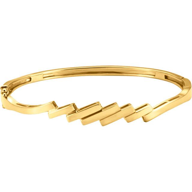 14K Gold Linear Hinged Bangle Bracelet