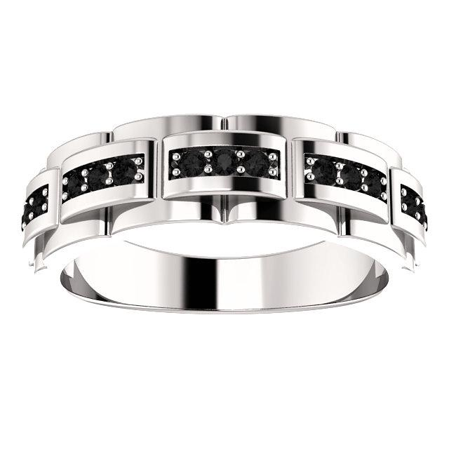 1/3 CTW Black Diamond Pattern Ring