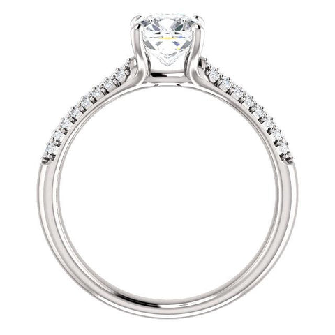 Airy Cushion Pave Engagement Ring Setting - Moijey Fine Jewelry and Diamonds