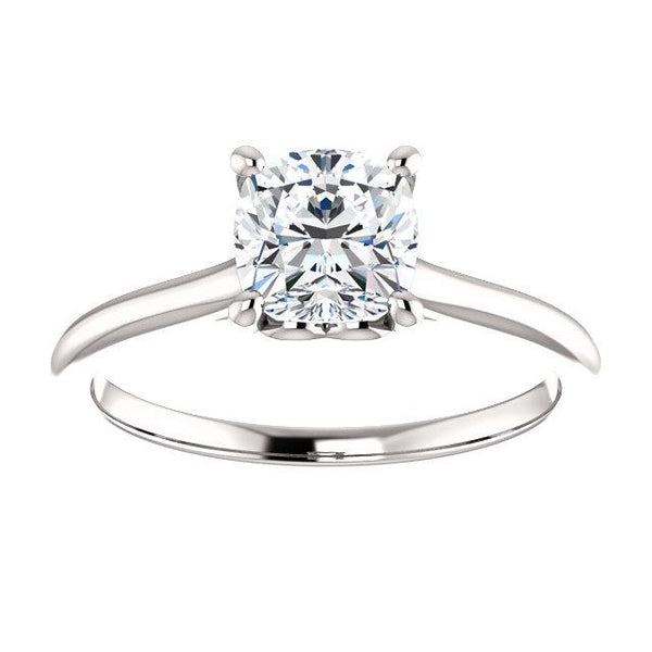 14K White 6 mm Cushion Solitaire Engagement Ring Mounting