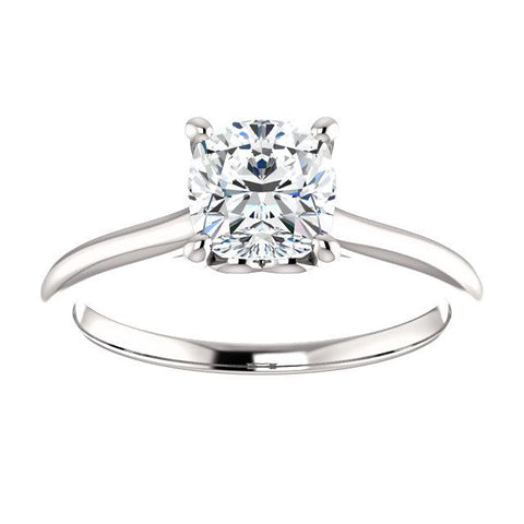 14K White 6 mm Cushion Solitaire Engagement Ring Mounting - Moijey Fine Jewelry and Diamonds