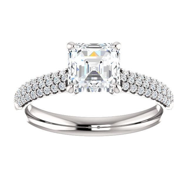 Airy Asscher Pave Engagement Ring Setting