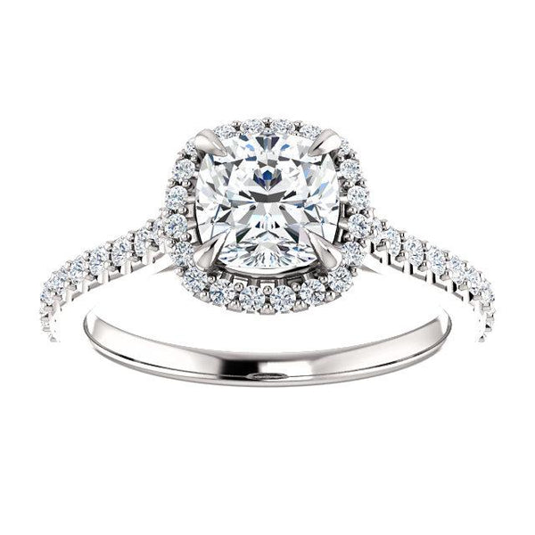Sweet Halo Cushion Engagement Ring Setting - Moijey Fine Jewelry and Diamonds